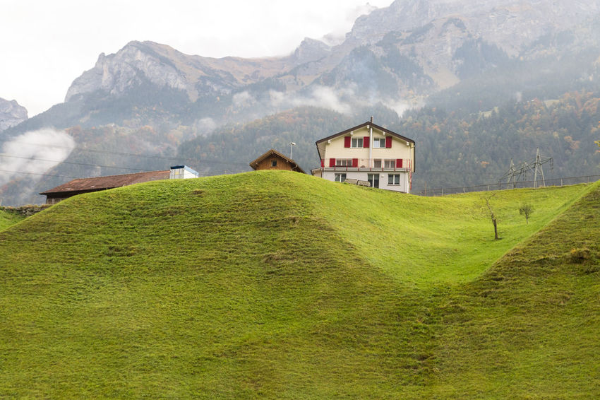 A typical Swiss countryside. Agriculture Beauty In Nature Farm Green Color Landscape Mountain No People Outdoors