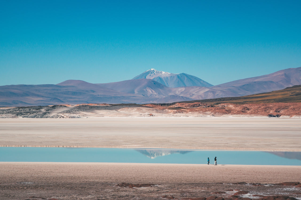 beauty in nature, tranquil scene, tranquility, nature, scenics, mountain, salt flat, lake, water, day, salt - mineral, landscape, reflection, outdoors, blue, mountain range, salt basin, arid climate, no people, clear sky, flamingo, sky
