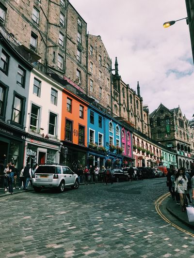 Edinbruhhh Colorful Colors Edinburgh Building Exterior Architecture Mode Of Transportation Built Structure Car Motor Vehicle City Transportation Street Building Sky Day Residential District Incidental People Window Road City Life The Art Of Street Photography