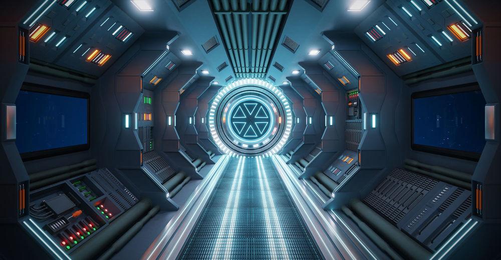 Directly below shot of illuminated interior of empty subway