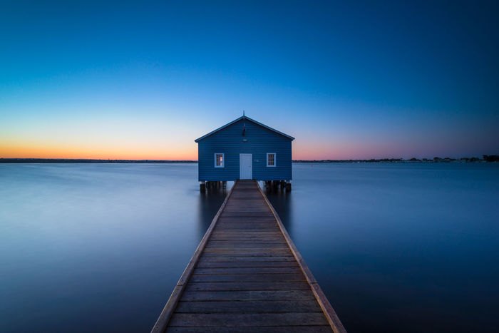 Long Exposed sunrise at Crawley Edge Boat Shed Australia Australian Landscape Beauty In Nature Blue Shed Boat Shed Calm Crawley Edge Horizon Over Water Landscape Leading Lines Long Exposure No People Perth River Shed Swan River