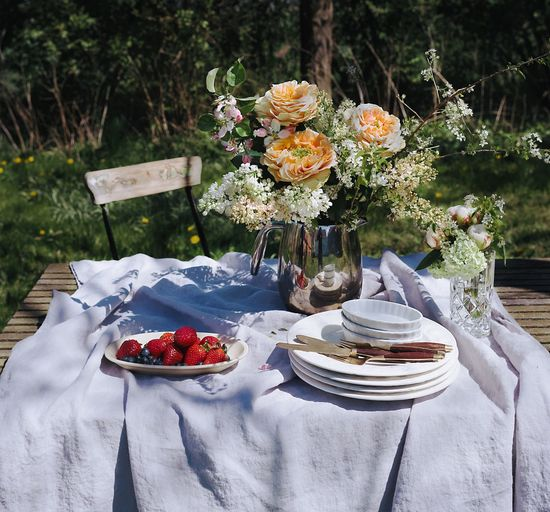 Flower Strawberry Fruit Table Garden Weekend Outdoors Food And Drink Front Or Back Yard Healthy Eating No People Variation Tablecloth Summer Food Still Life Table Setting Sommergefühle