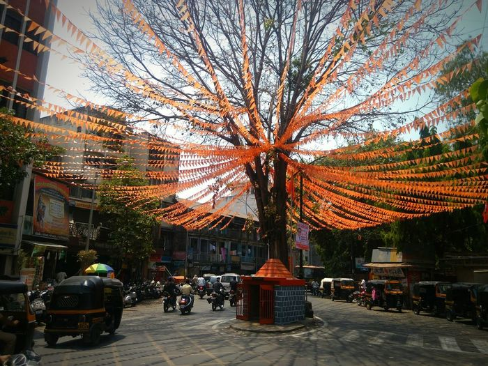 Street Decoration Tree Anf Street Urban Nature Traffic Small Temple Outdoors City Day Street Photography Vehicles At The Background Pune, India