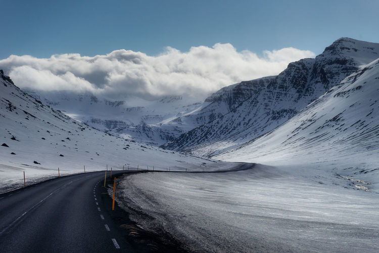 Road Mountain Transportation The Way Forward Landscape Winter Travel Destinations Majestic Diminishing Perspective Mountain Range Beauty In Nature Nature Non-urban Scene Winter Iceland Iceland Memories Winding Road