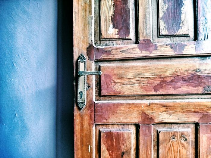 Wooden door of old house
