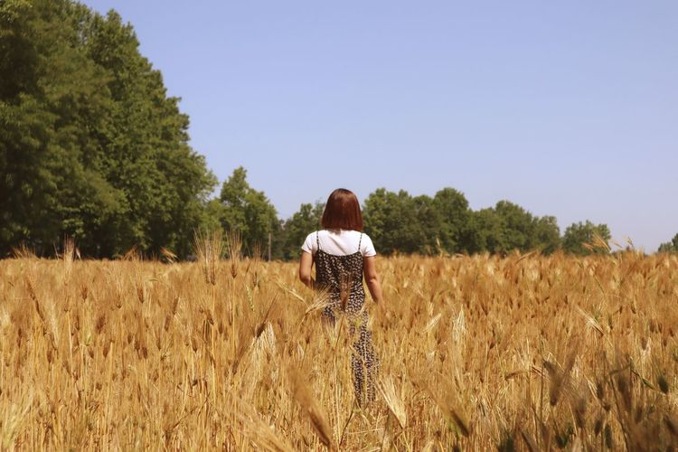 Rear view of woman standing on field against clear sky