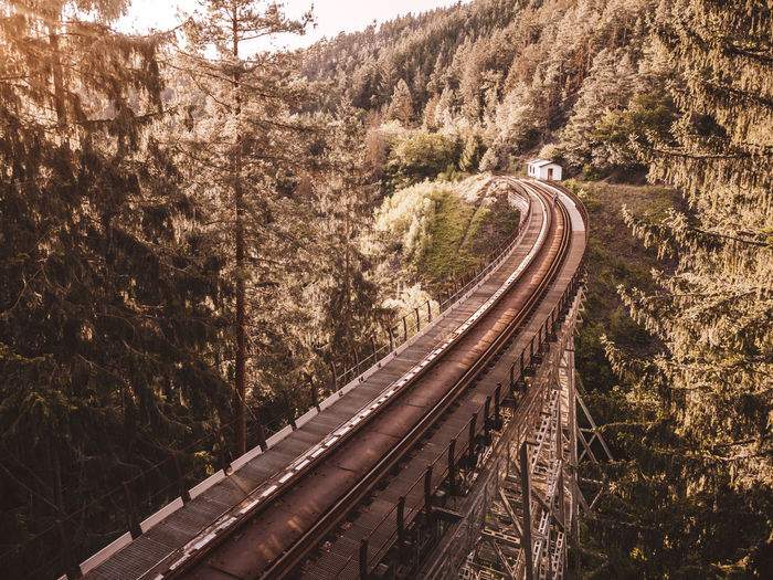 High angle view of railroad tracks on mountain