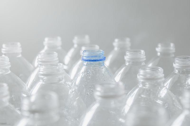 Close-up of bottles against blurred background