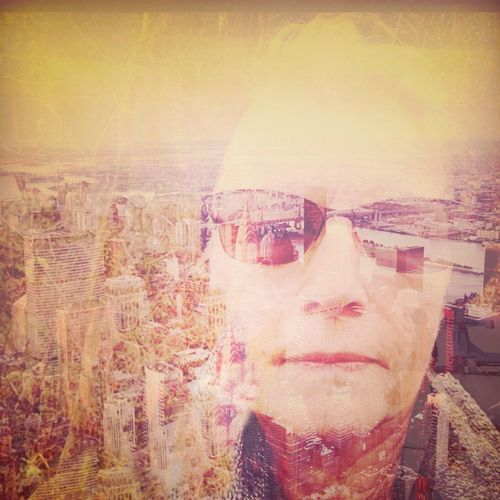 Sunglasses portrait, city scape Blended Images Cityscape Photography Double Exposure Front View Human Face Lifestyles Looking Direct Mature Adult One Person Outdoors Real People Sunglasses Yellow