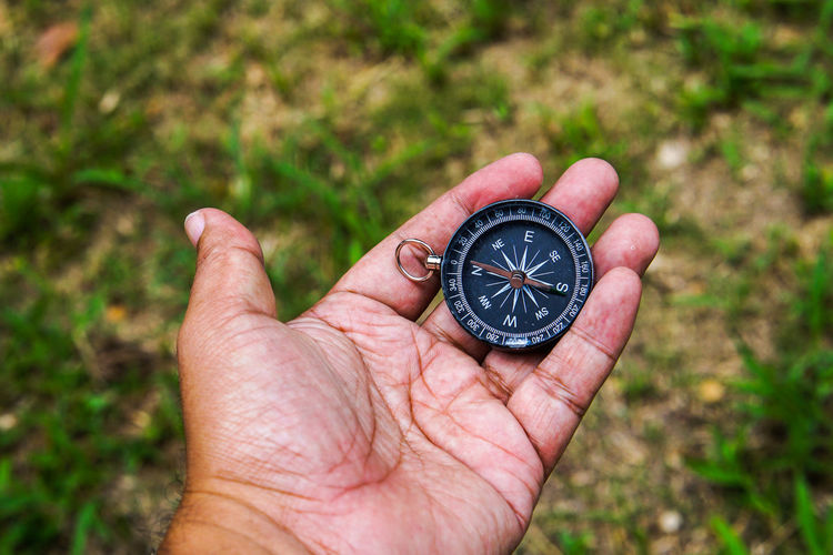 Hand holding black compass