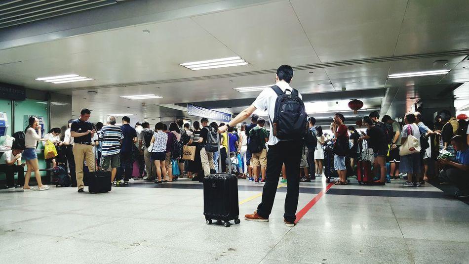 Festival Season Long Queue Train Station Crowds Public Transportation Commuting Festive Crowds