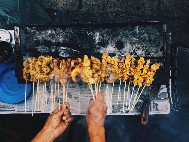 SATAY Human Hand Food High Angle View Flatlay Food And Drink Traditional Food Sarawak Food Borneo EyeEm Best Shots EyeEmNewHere