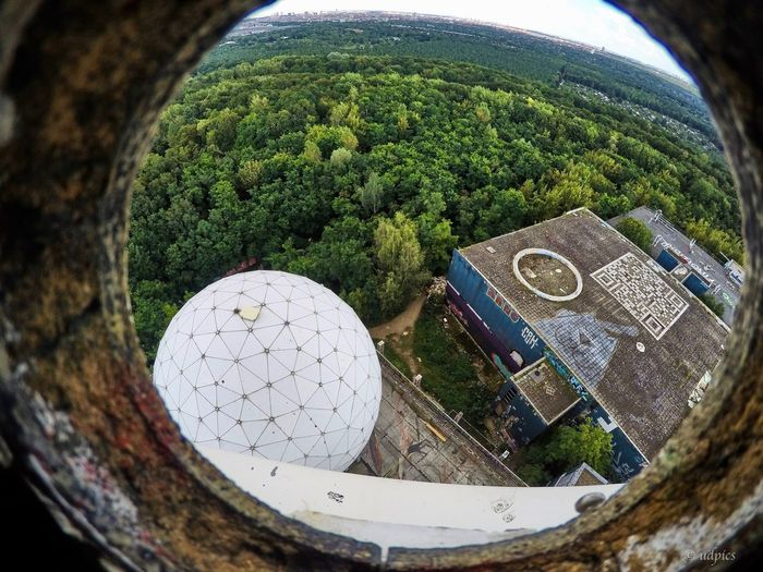 Abhörstation Teufelsberg Teufelsberg Berlin Architecture Built Structure Close-up Day Fish-eye Lens Nature No People Outdoors Sky Tree