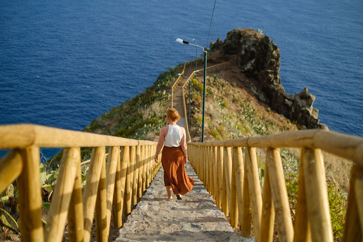 Rear view of  woman on railing by sea