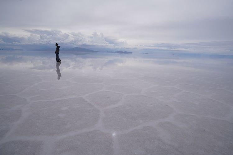 Full length of person walking on land against sky