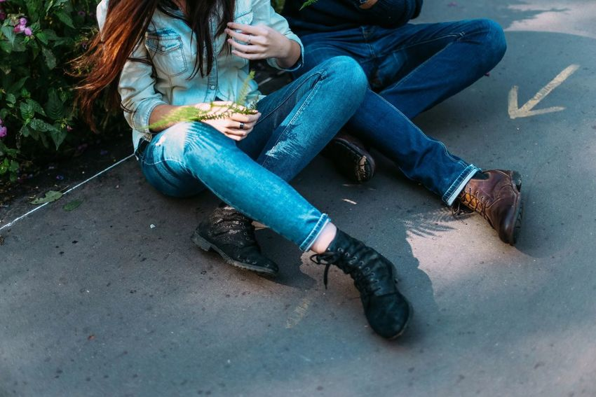 Casual Clothing Sitting Adult Outdoors People Women Two People Shoes Jeans Men Couple