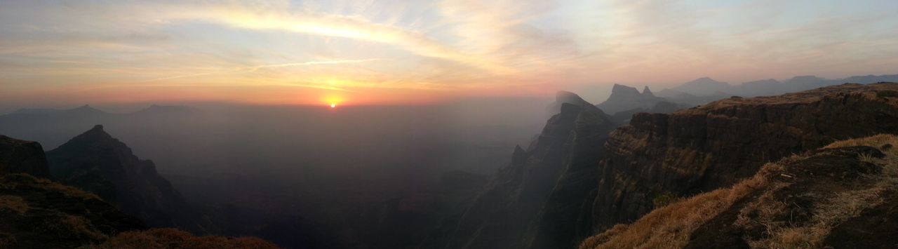 Panoramic View On Mountains During Sunset
