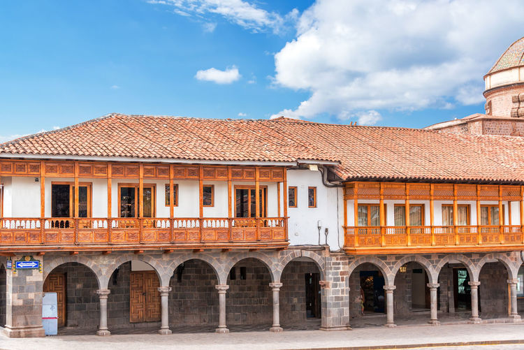 Historic building at plaza de armas against sky on sunny day