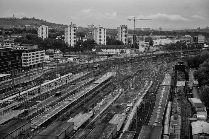 Built Structure City Cityscape Construction Site Hauptbahnhof Main Station  Railroad Track S21 Stuttgart Tracks Trains Traveling Vanishing Point