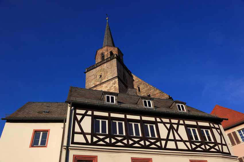 old city and church Petrikirche of Kulmbach, Frankonia, Bavaria, Germany Architecture Belief Blue Building Building Exterior Built Structure Clear Sky Clock Day Kulmbach Low Angle View Nature No People Place Of Worship Religion Sky Spire  Spirituality Time Tower Window