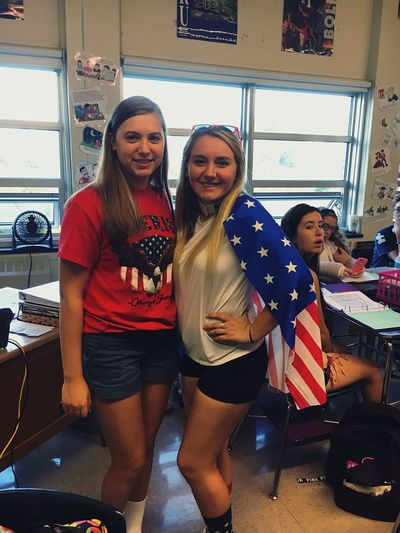 Homecoming Smiling Happiness Cheerful Young Adult Togetherness Friendship Fun Enjoyment Indoors  Young Women Patriotism Standing Portrait Real People Day People Adult Adults Only