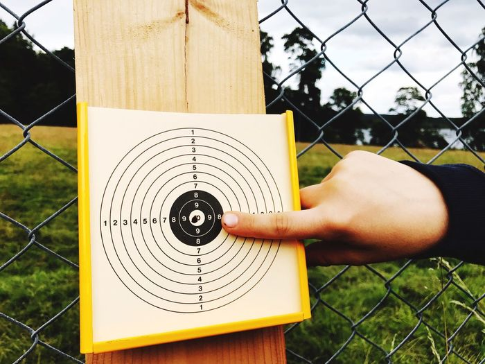 Ten Ten Points Hit The Target Right On Target Target Air Rifle One Person Fence Human Hand Hand Boundary Barrier Real People
