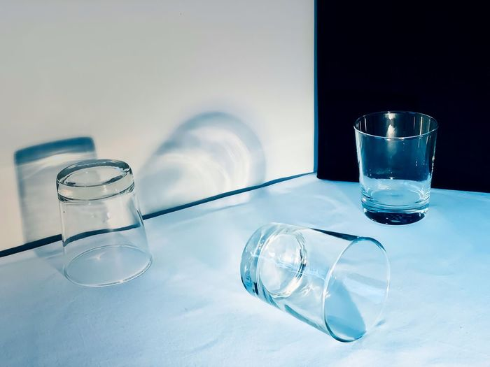 Glass of water on table