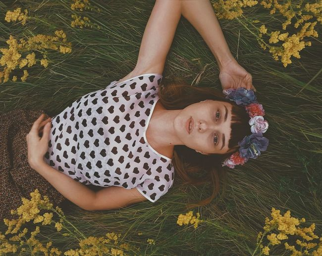 Field Flowers Portrait Girls Smiling Lying Down Beauty Relaxation Looking At Camera Eyes Closed  Blooming EyeEmNewHere The Great Outdoors - 2018 EyeEm Awards
