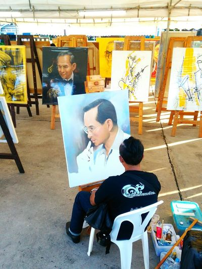 Artist Adults Only People Adult Real People Thailand ArtWork King Rama IX Painting Brushes Art And Craft Painting Rear View