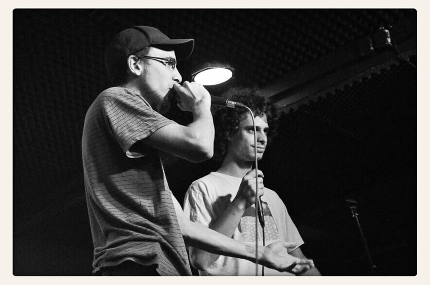 on the left: rapper Böser Wolf (http://boeserwolf.bandcamp.com); on the right: rapper Noah; @ Dreistil Kick Off (22.05.2014), final round of the freestyle battle, winner Noah gets 200 Euro; copyright by Kathleen Montorio, picture taken with Nikon D5000 for the Hip Hop in Vienna Blog; Freestyle Battle Rap Battle;