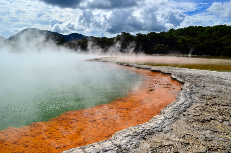 Waiotapu hot springs Beauty In Nature Cloud - Sky Day Geology Geyser Heat - Temperature Hot Spring Mountain Nature No People Non-urban Scene Outdoors Physical Geography Power In Nature Scenics - Nature Sky Smoke - Physical Structure Steam Tranquil Scene Travel Destinations Water