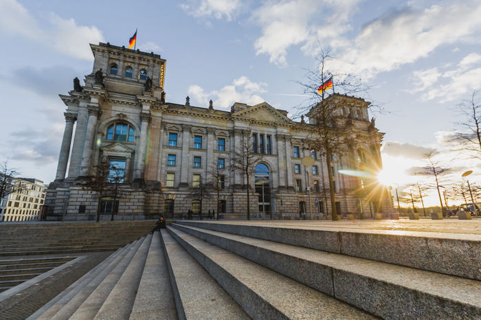 Berlin Architecture Building Exterior Built Structure City Cloud - Sky Germany Government History Lens Flare Nature No People Outdoors Parlament Rail Transportation Railroad Track Sky Sun Sunbeam Sunlight The Past Track Travel Travel Destinations