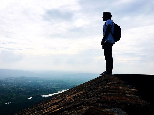 Cloud - Sky Sky Full Length One Person Standing Real People Men Nature Scenics Outdoors Day Beauty In Nature Mountain Lifestyles Water One Man Only Young Adult People Perspectives On Nature
