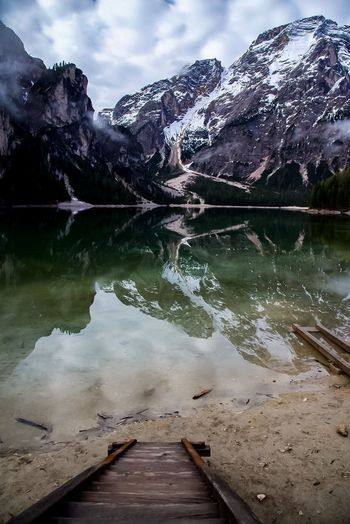 Relaxing Lago Di Braies Lake Mountain Scenics Nature Water Reflection Beauty In Nature Tranquil Scene Tranquility Snow No People Sky Outdoors Mountain Range Day Cloud - Sky Nikon D750 Sommergefühle Braies Lake Italy EyeEm Selects EyeNewHere Full Frame Nikonphotographer Been There.