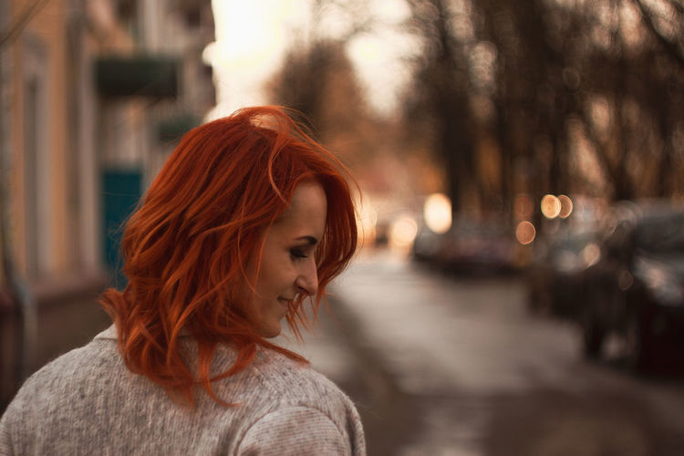 Redhead Woman In City