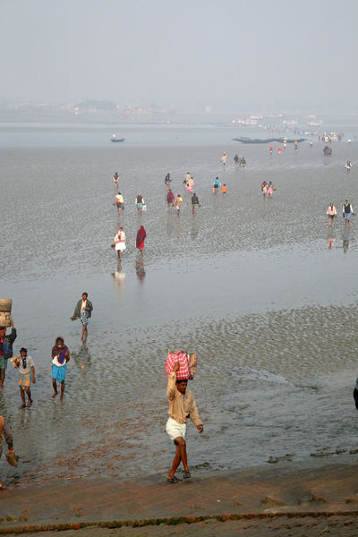 During low tide the water in the river Malta falls so low that people walk to the other shore in Canning Town, India on January 17, 2009. Canning Canning Town Coast Ebb India Large Group Of People Low Low Tide Malta River Mud People Person Shore Tidal Tide Town Walk Walking Water West Bengal