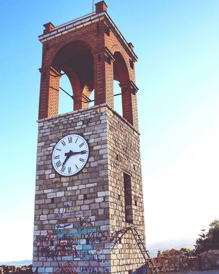 City View  In Greece Nafpaktos Sky City Clocks Clock Tower Blue Photooftheday Photography