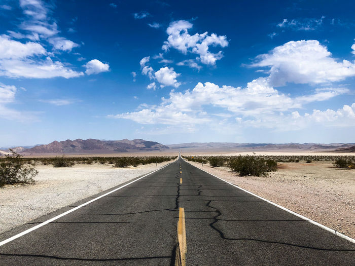 Empty Road At Desert Against Sky