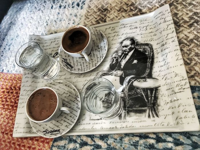 Coffee Cup Coffee - Drink Food And Drink Table Directly Above High Angle View Drink Indoors  Refreshment Porland Newspaper Paper Close-up Food Day Freshness Home Home Sweet Home Class Life Ready-to-eat Water Drinking Glass Lifestyles MustafaKemalAtatürk