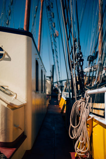 Blue Sky Boat Cable Close-up Dew Industry Maritime Nautica Nautical Vessel No People Open Water Outdoors Path Rope Sailing Sailing Ship Sea Transportation Water