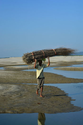 Man carrying logs at beach against clear blue sky