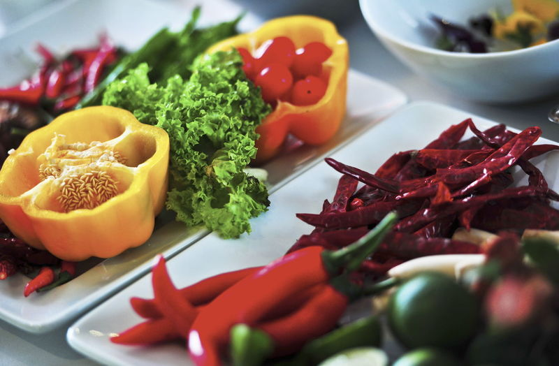 Close-up of vegetables in plate on table