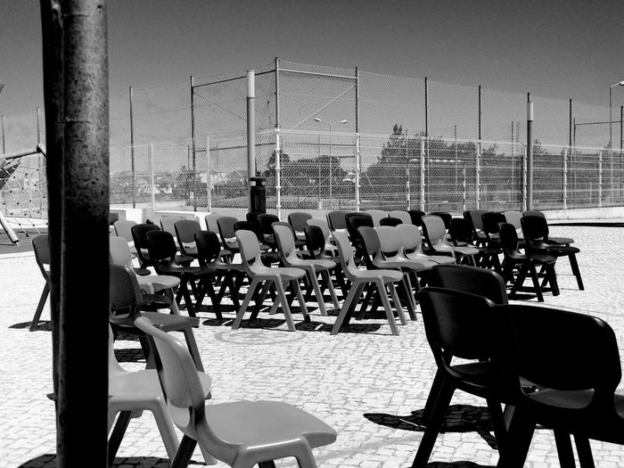 Empty chairs in rows