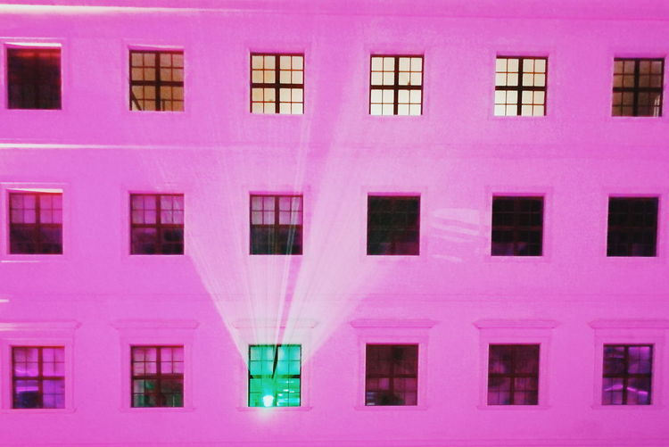 Pink Color Window Architecture Full Frame Building Exterior Built Structure No People Backgrounds Building In A Row Repetition Outdoors Pattern Side By Side Day City Residential District Close-up Purple Glass - Material Illimunated Lights