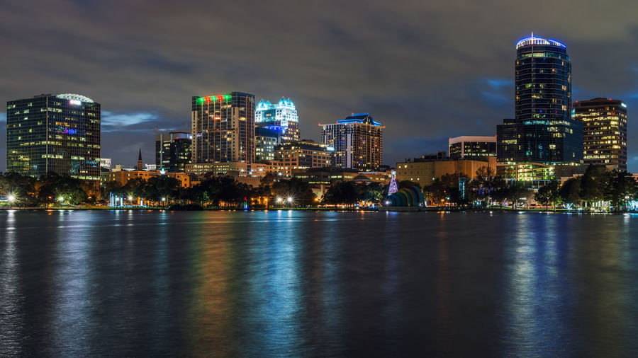Orlando skyline Lake Eola Park Orlando USA Architecture Building Exterior Built Structure City Cityscape Florida Illuminated Modern Nature Night No People Outdoors Sea Sky Skyscraper Travel Destinations Urban Skyline Water Waterfront Been There.