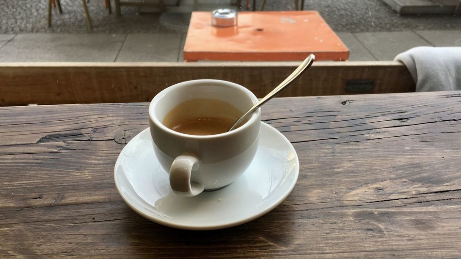 Espresso Close-up Coffee Cup Day Drink Food Food And Drink Freshness Healthy Eating Indoors  Leftovers No People Refreshment Saucer Table Wood - Material