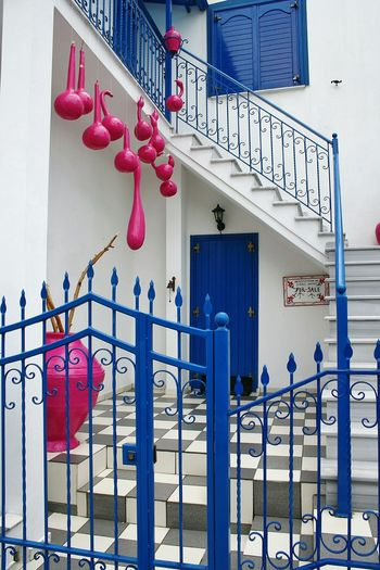 Greek House Thassos Colorful Pink Squash Blue Iron Fence