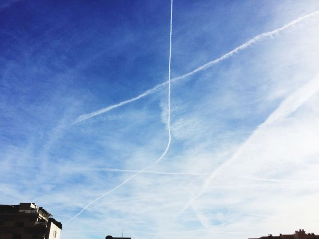 Normal? Vapor Trail Contrail Low Angle View Blue Sky No People Day