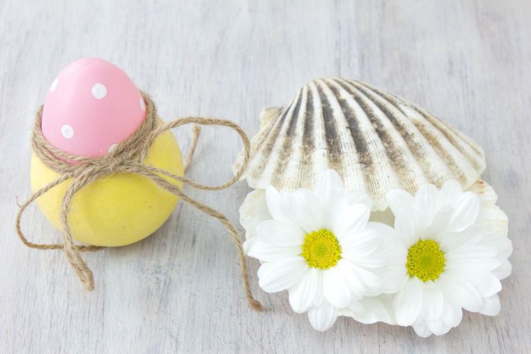 Close-up of eater egg in container by flowers on seashell