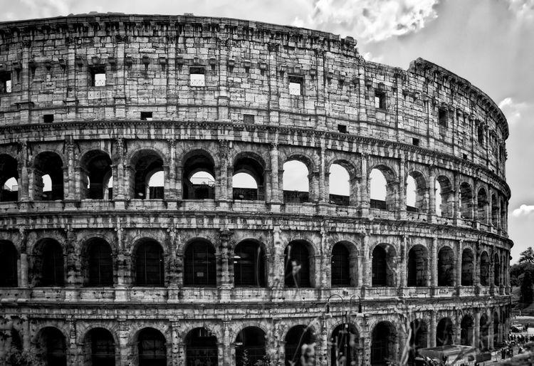 Exterior of colosseum against sky